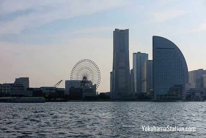 Cosmo Clock 21, the Landmark Tower, and Yokohama Intercontinental Grand can all be seen from the Sky Duck